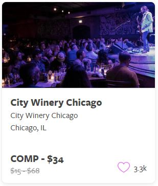 City Winery Chicago Comp Tickets